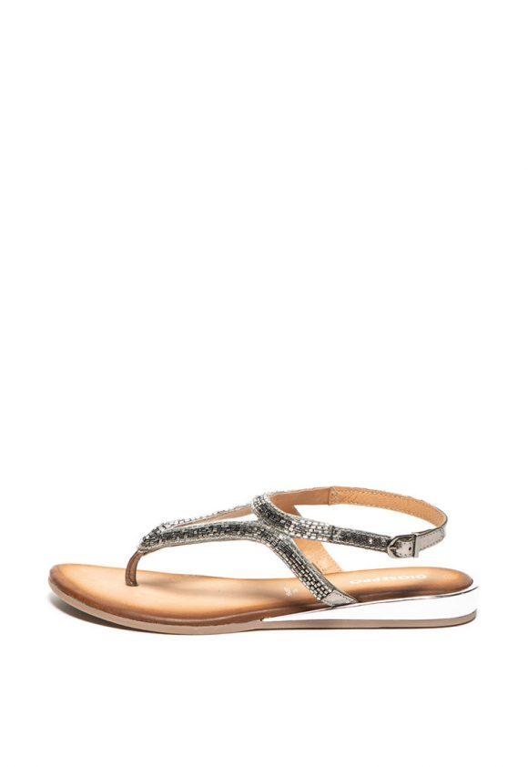 Sandale de piele cu aplicatii cu margele Vinassan-sandale-Gioseppo