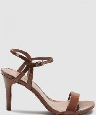 Sandale de piele ecologica cu toc inalt si aspect lacuit-sandale-NEXT