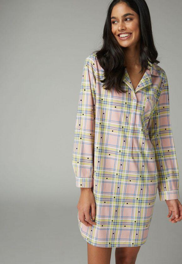 Camasa de noapte cu buline - carouri si buzunar pe piept-pijamale si halate de baie-NEXT