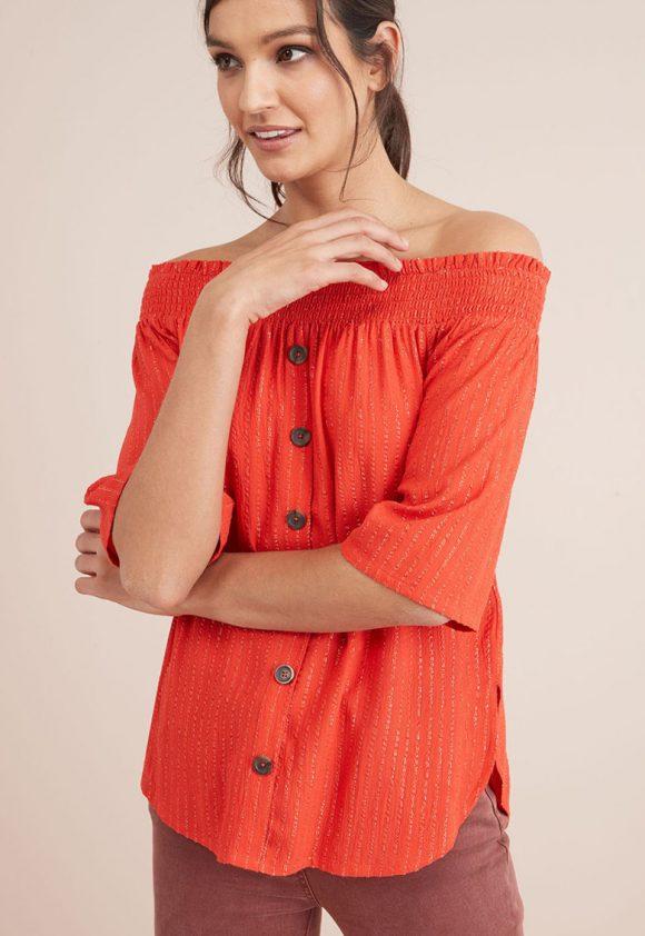 Bluza cu decolteu pe umeri si insertii de lurex-bluze-NEXT