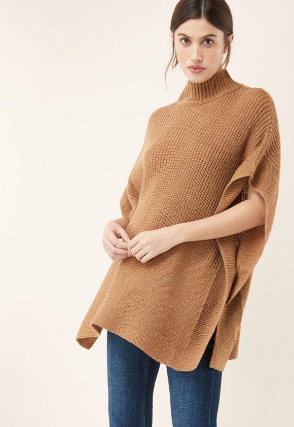 Poncho tricotat cu guler inalt-bluze-NEXT