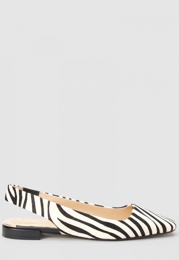 Pantofi slingback de piele cu par scurt - cu imprimeu zebra-pantofi clasici-NEXT