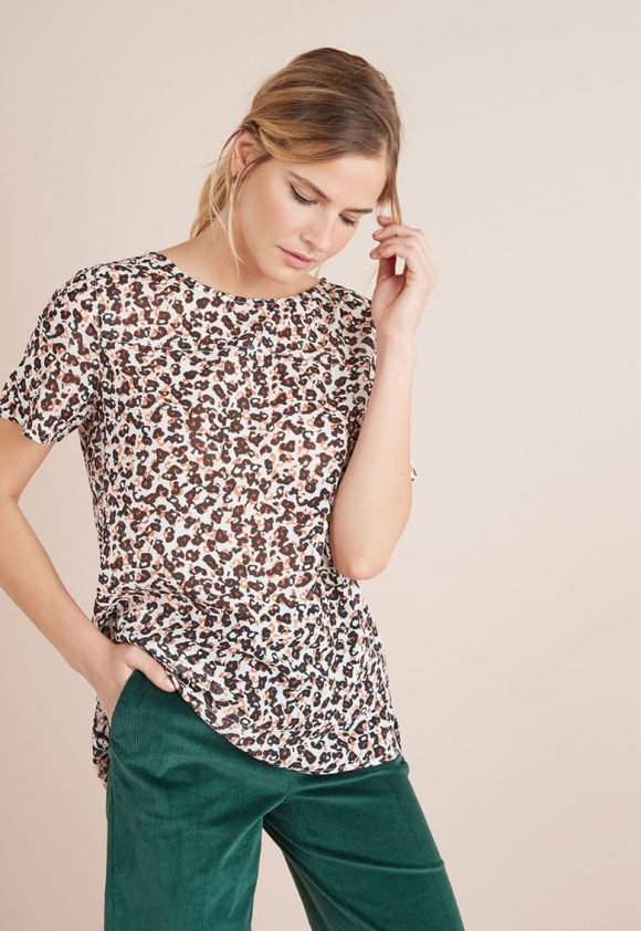 Bluza cu animal print si terminatie asimetrica-bluze-NEXT
