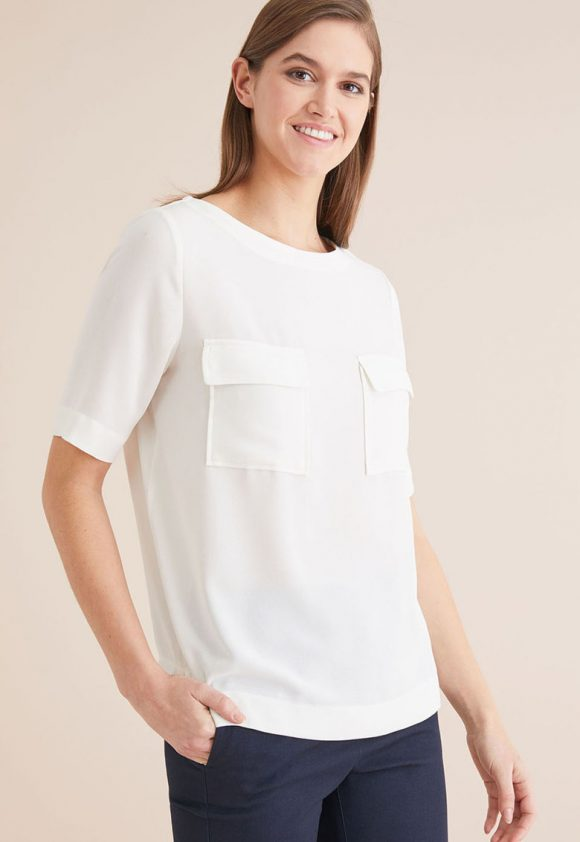 Bluza cu maneci scurte si buzunare pe piept-bluze-NEXT