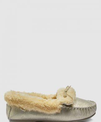 Pantofi loafer de piele - cu captuseala de blana sintetica - pentru casa-papuci-NEXT