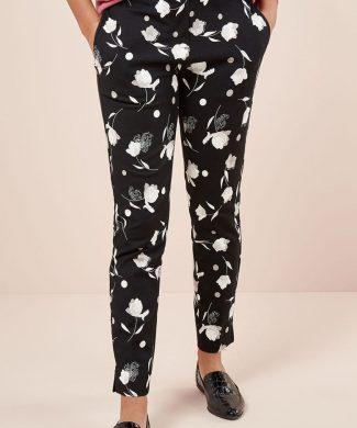 Pantaloni conici cu imprimeu floral-pantaloni si colanti-NEXT