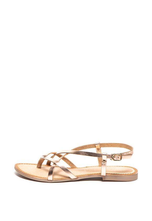 Sandale de piele cu bareta separatoare la nivelul degetelor si model incrucisat Dinia-sandale-Gioseppo