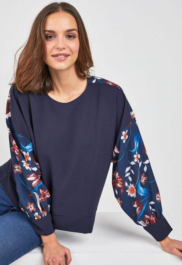 Bluza texturata cu insertii cu imprimeu floral-bluze-NEXT
