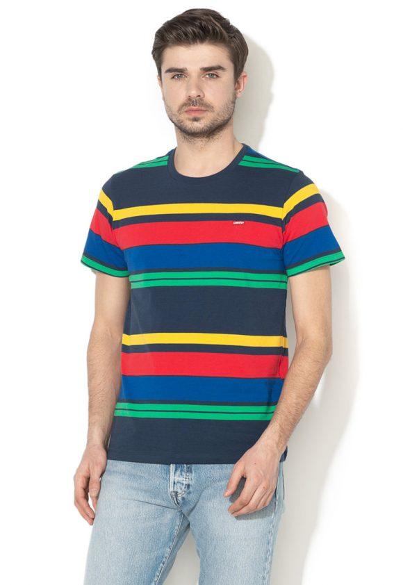 Tricou din bumbac - cu model in dungi-tricouri-Levis