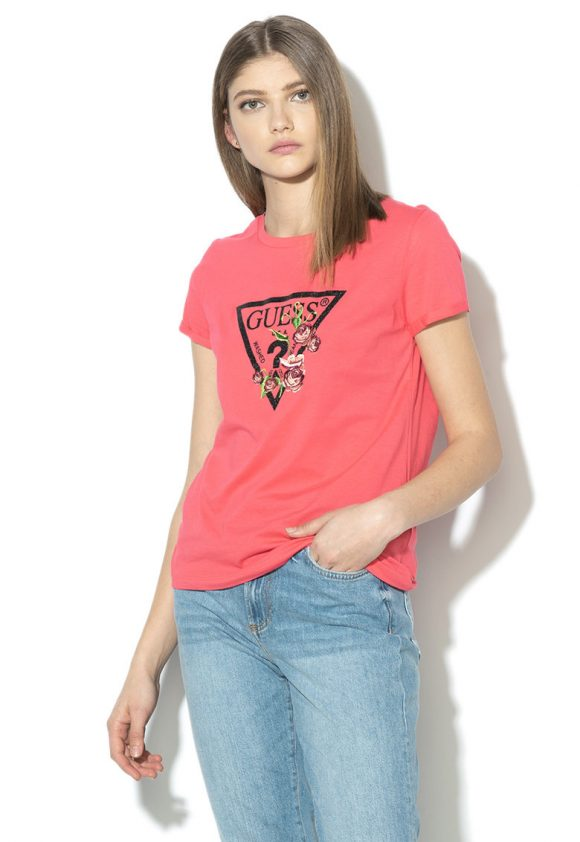 Tricou cu insertii stralucitoare-tricouri-GUESS JEANS