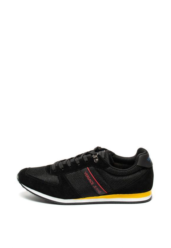Pantofi sport de piele intoarsa si material textil - cu aplicatie logo-tenisi-Versace Jeans