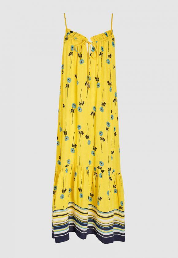 Rochie evazata cu imprimeu floral si dungi-rochii-NEXT