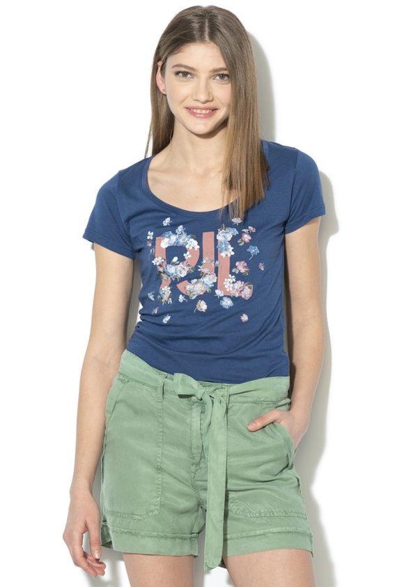 Tricou cu imprimeu logo si floral Doreen-tricouri-Pepe Jeans London
