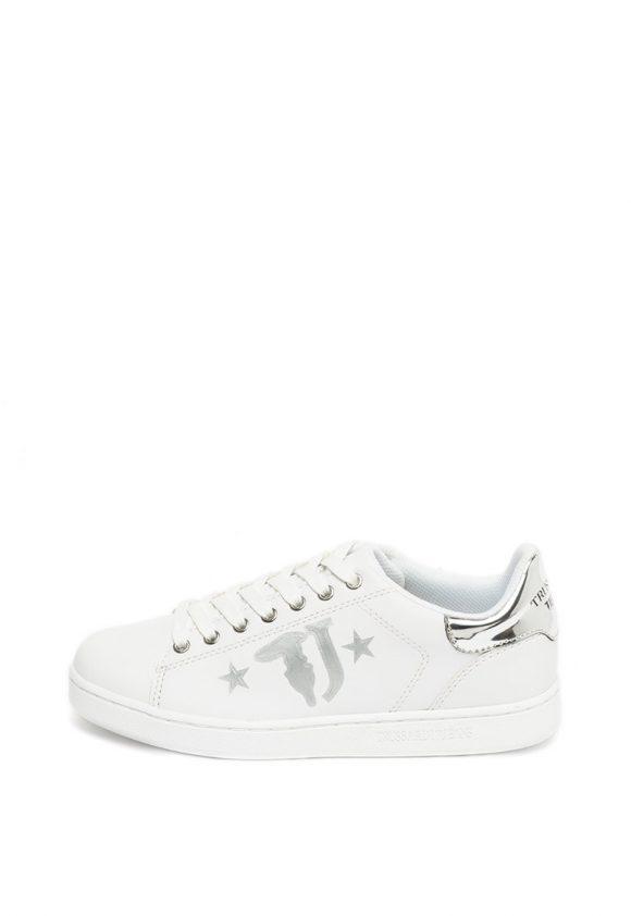 Pantofi sport de piele ecologica cu garnituri metalizate-tenisi-Trussardi Jeans