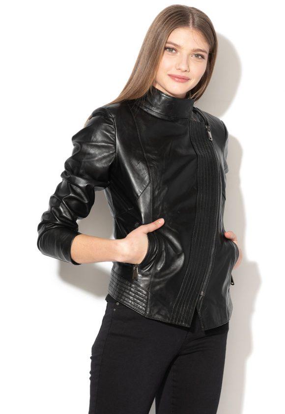 Jacheta biker de piele cu inchidere asimetrica-jachete-Zee Lane