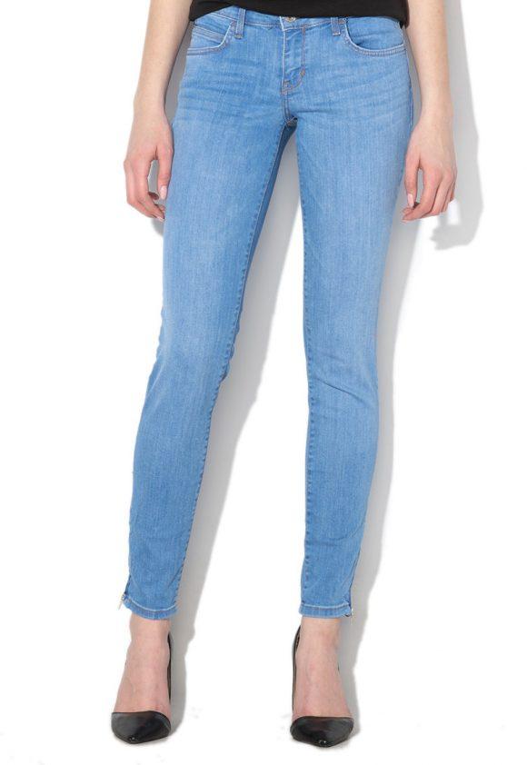Blugi skinny cu talie joasa si slituri cu fermoar Marilyn-jeansi-GUESS JEANS