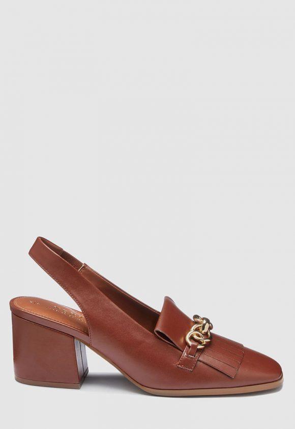 Pantofi slingback de piele ecologica - cu toc masiv-pantofi clasici-NEXT