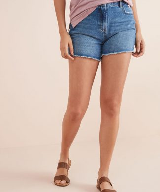 Pantaloni scurti din denim cu talie inalta-jeansi-NEXT