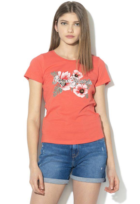 Tricou cu imprimeu logo si floral Kaia-tricouri-Pepe Jeans London