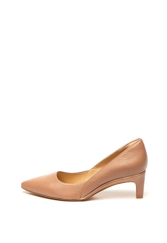 Pantofi de piele cu varf ascutit cu toc kitten Ellis Rose-pantofi clasici-Clarks