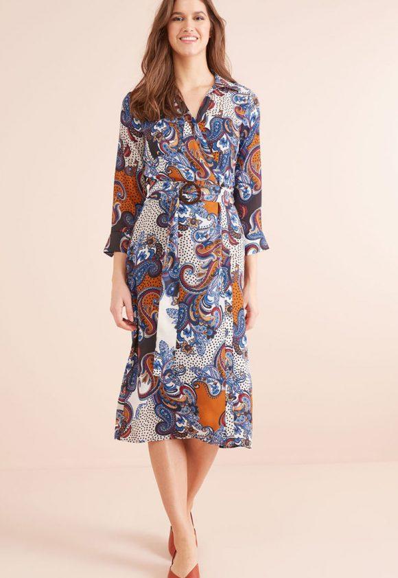 Rochie midi petrecuta cu model si cordon in talie-rochii-NEXT