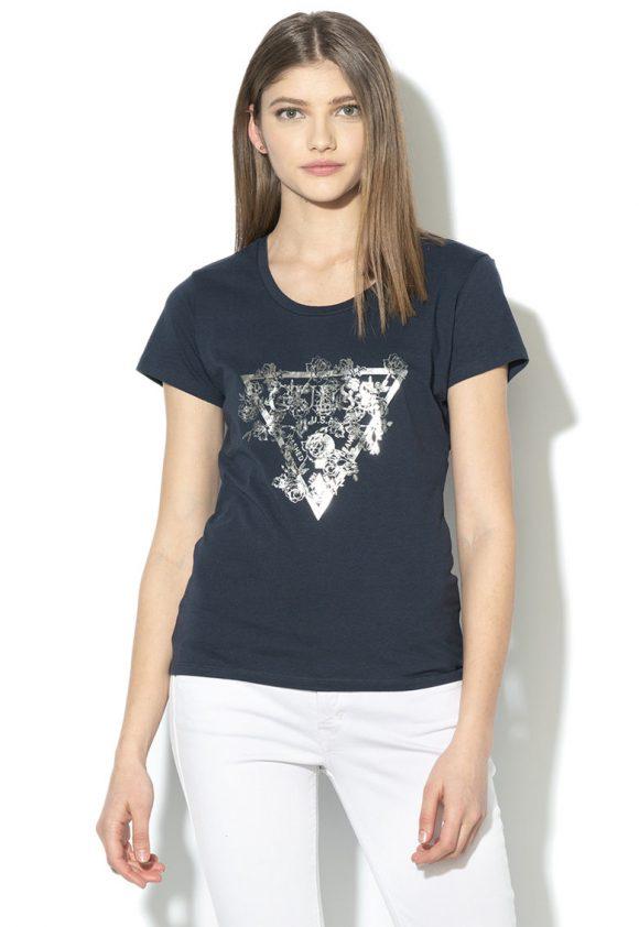 Tricou cu imprimeu logo metalizat-tricouri-GUESS JEANS