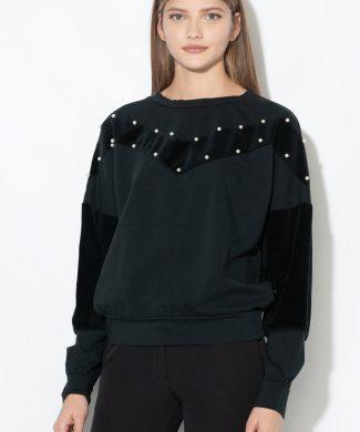 Bluza sport decorata cu perle sintetice-bluze-Zee Lane Denim