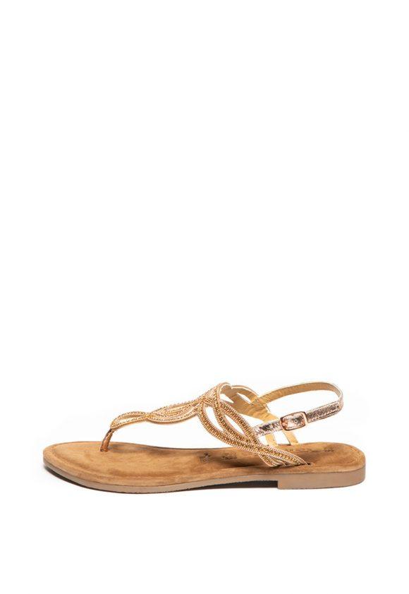 Sandale de piele cu bareta separatoare decorata cu strasuri-sandale-Tamaris