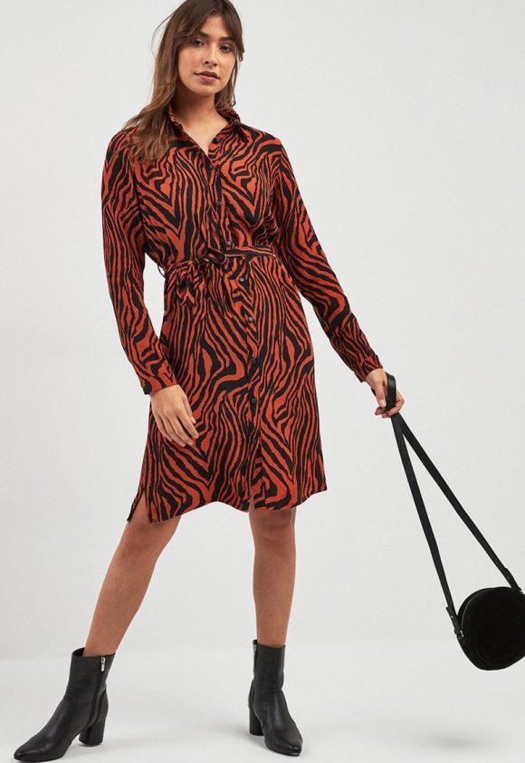 Rochie tip camasa cu animal print-rochii-NEXT