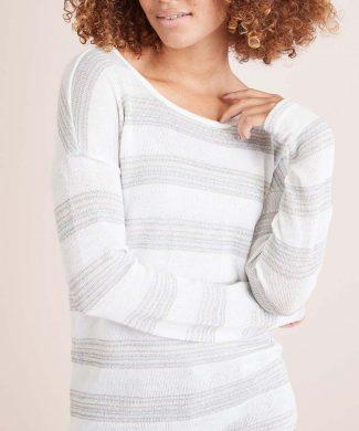 Bluza in dungi din tricot fin cu terminatie rotunjita-bluze-NEXT
