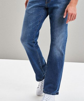 Blugi cu croiala bootcut si aspect decolorat-jeansi-NEXT