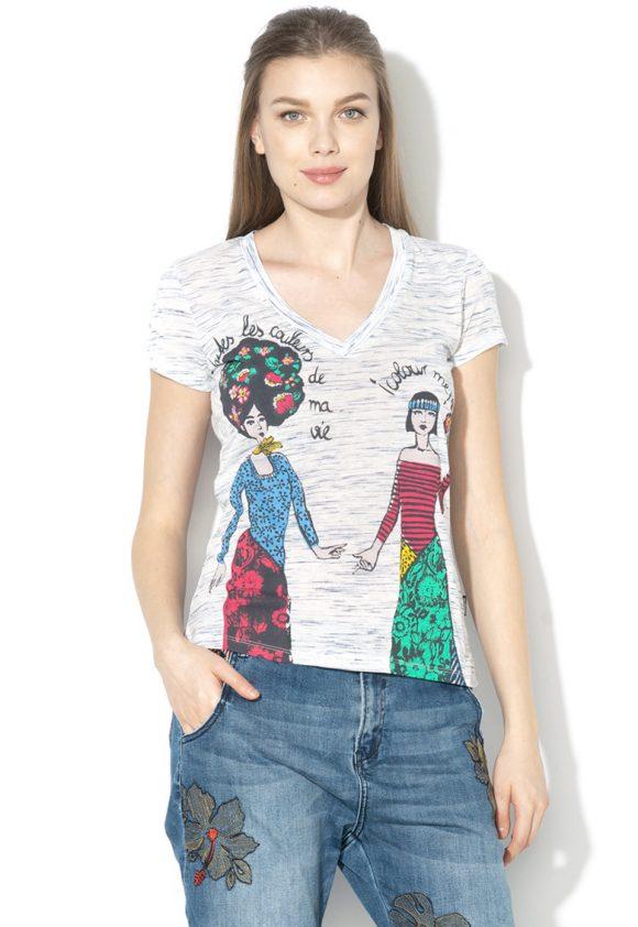 Tricou cu imprimeu Twins-tricouri-DESIGUAL