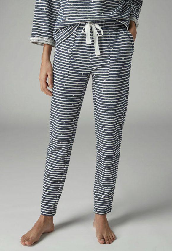 Pantaloni de casa cu buzunare si imprimeu cu dungi si stele-pantaloni si colanti-NEXT