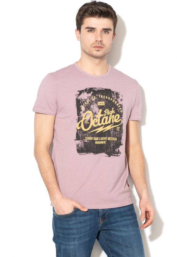 Tricou cu decolteu la baza gatului si imprimeu text Propin-tricouri-BIG STAR