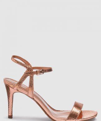 Sandale de piele ecologica cu toc inalt si aspect metalizat-sandale-NEXT