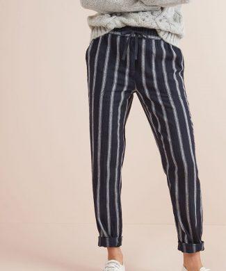 Pantaloni din amestec de in - cu model in dungi-pantaloni si colanti-NEXT