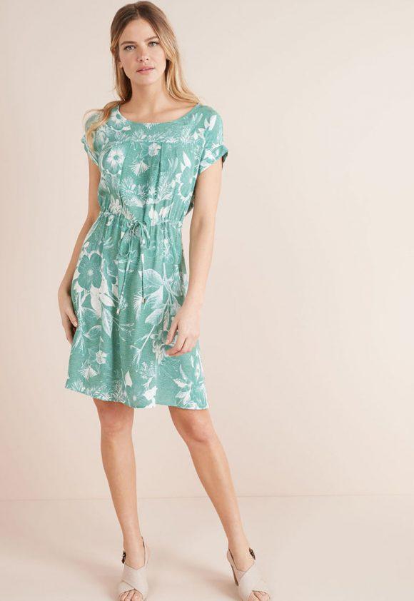 Rochie evazata cu imprimeu floral si snur in talie-rochii-NEXT
