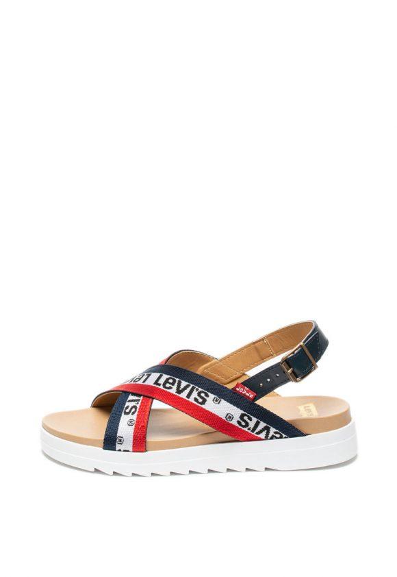 Sandale wedge din piele si material textil-sandale-Levis