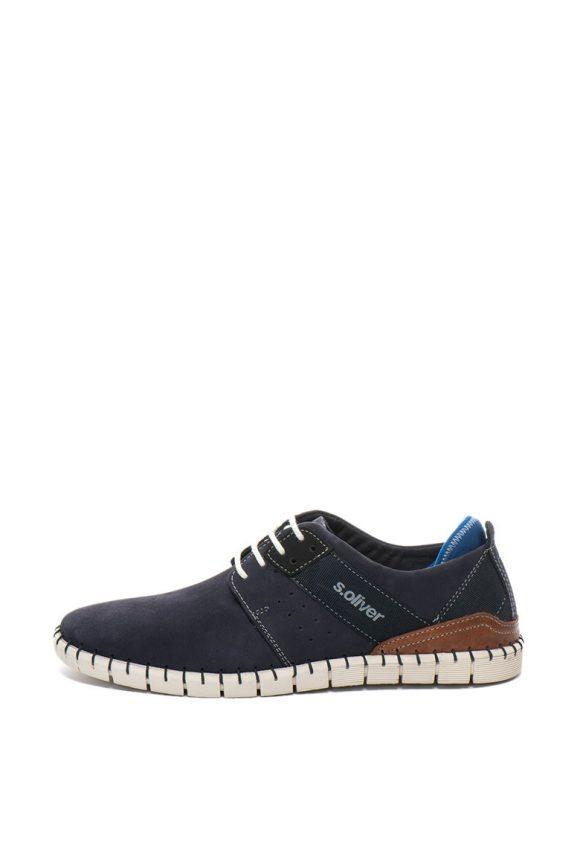 Pantofi casual de piele nabuc si garnituri de piele-pantofi clasici-sOliver