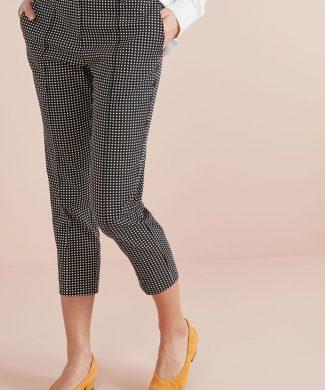 Pantaloni conici cu model in carouri-pantaloni si colanti-NEXT