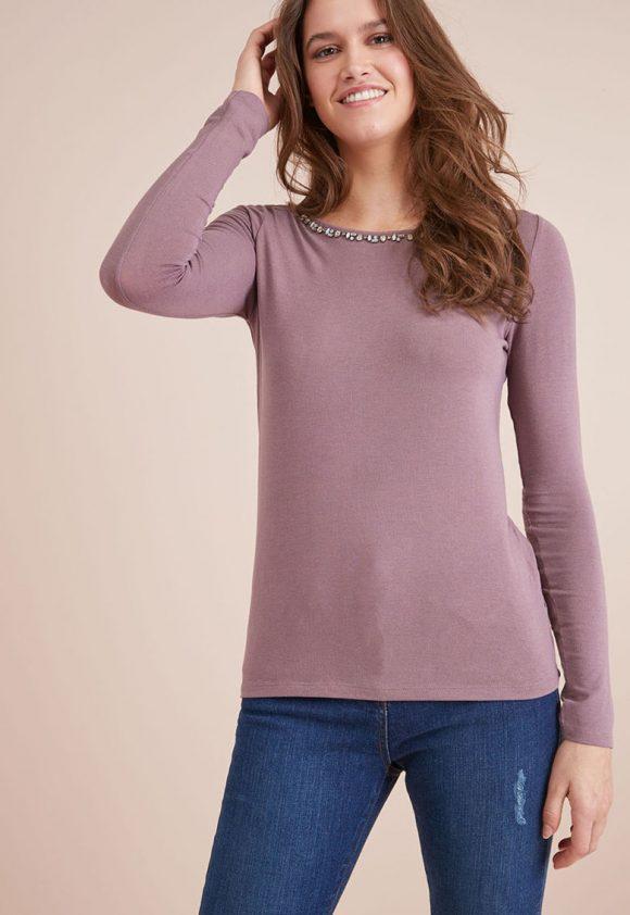 Bluza lejera cu aplicatii cu strasuri-bluze-NEXT