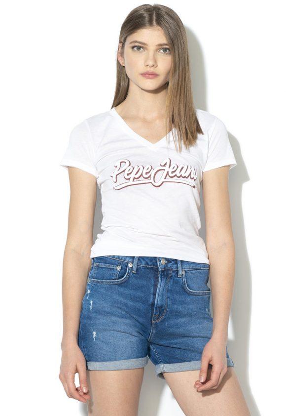 Tricou cu decolteu in V si imprimeu logo Liz-tricouri-Pepe Jeans London