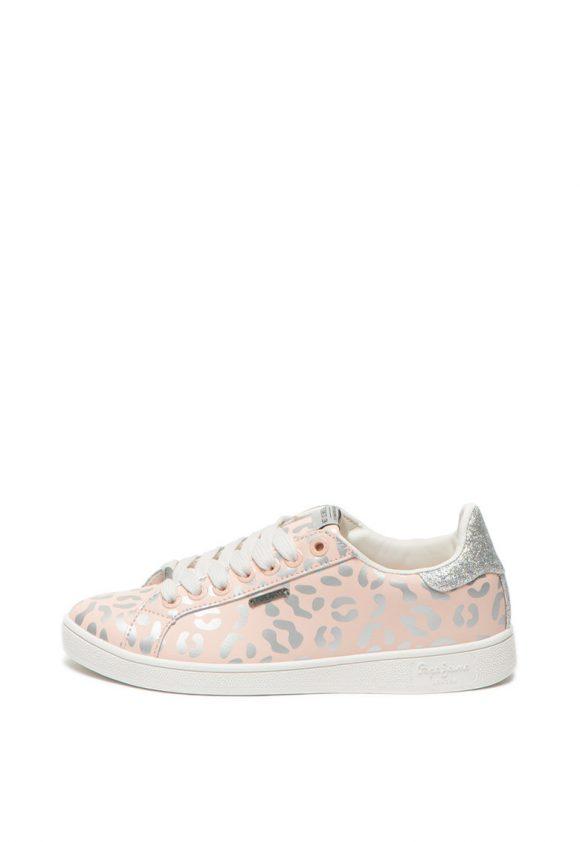 Pantofi sport de piele cu animal print Brompton-tenisi-Pepe Jeans London