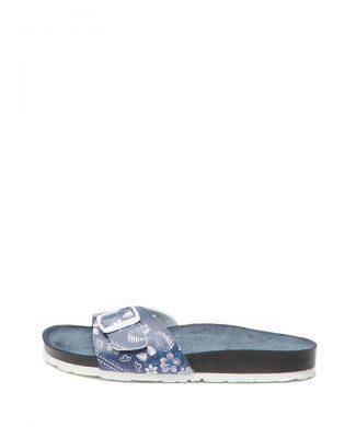 Papuci de piele ecologica cu model floral Oban Virgi-papuci-Pepe Jeans London