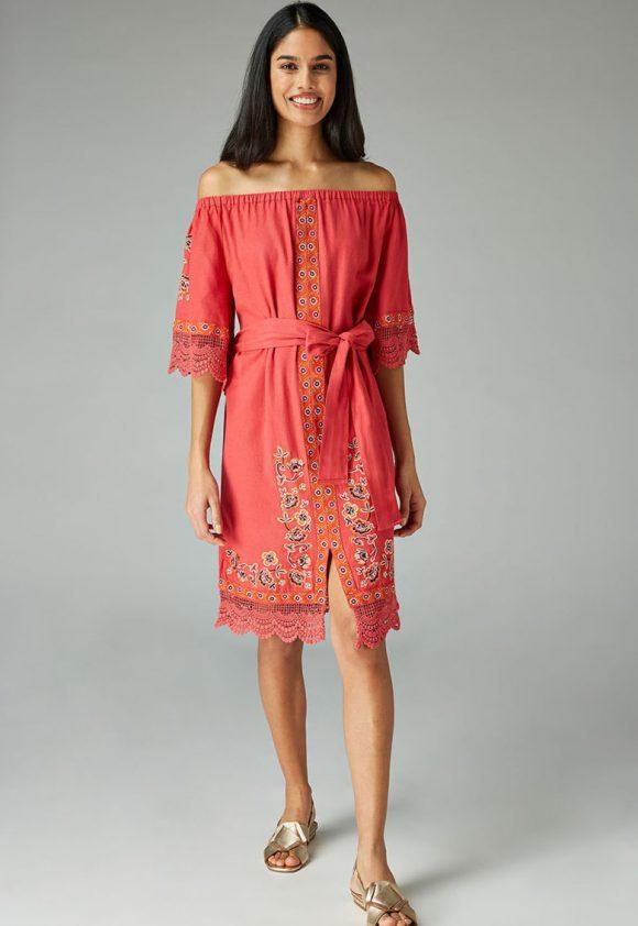 Rochie cu decolteu pe umeri si model floral-rochii-NEXT