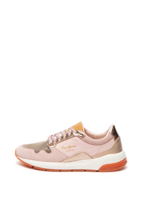 Pantofi sport cu insertii de piele intoarsa Foster Maya-tenisi-Pepe Jeans London
