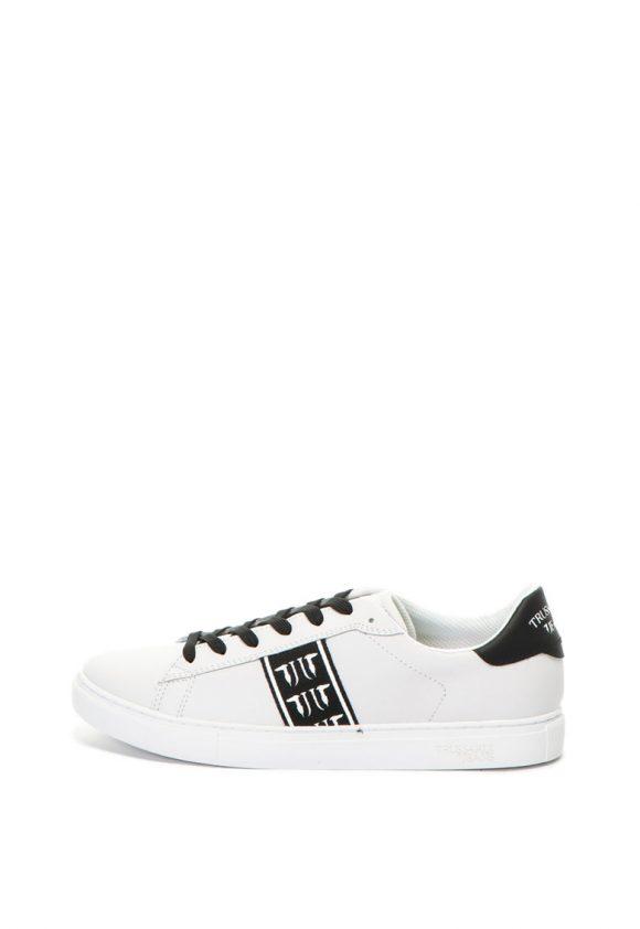 Pantofi sport de piele cu garnitura cu logo-tenisi-Trussardi