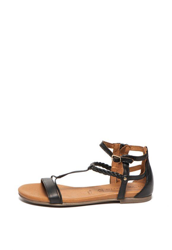 Sandale de piele - cu amortizare si garnitura impletita-sandale-Tamaris