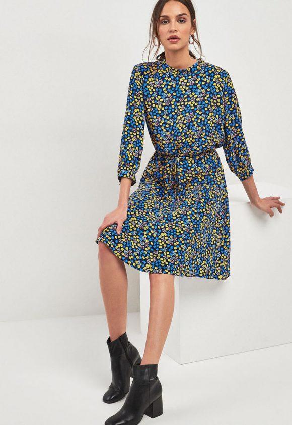 Rochie cu imprimeu floral si snur in talie-rochii-NEXT