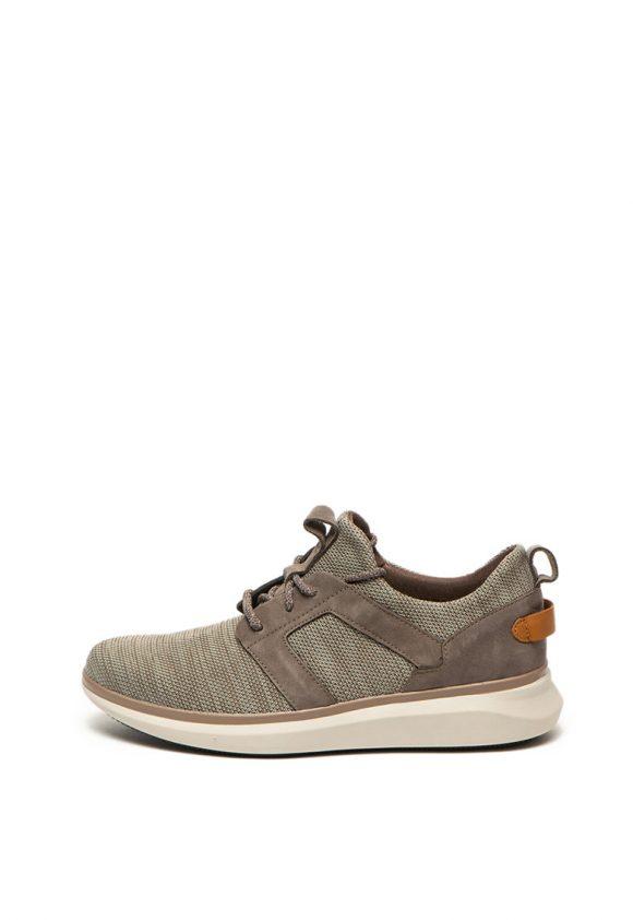 Pantofi sport slip on cu garnituri de piele intoarsa ecologica Un Globe-tenisi-Clarks